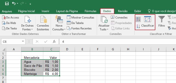 ordenando dados na tabela por classificação